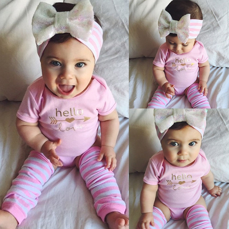 Pink Newborn Infant Baby Girls Clothes Short Sleeve Bodysuit Striped Leg Warmers Headband 3pcs Outfit Bebek Clothing Set 0-18M 2017 newborn baby boy girl clothes floral infant bebes romper bodysuit and bloomers bottom 2pcs outfit bebek giyim clothing