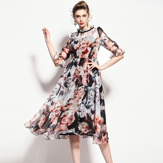Summer Style Qin Peier Brand Agent Spring And Lotus Sleeve Art Print Dress Marilyn Monroe