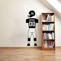 Benutzerdefinierte NAMEN und NUMMERN Fußball Player Wandtattoos Sport Jersey einheitliche Hosen und Helm Vinyl Wandaufkleber Für Kinderzimmer A192
