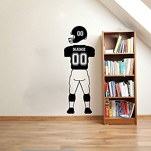 Custom name numbers football player wall decals sports for Sports decals for kids rooms