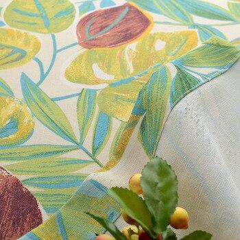 ECO Coton Polyester Personnalisé 50% Ombrage Feuilles Vertes Fraîches Art Petits Rideaux Pour Salon Cuisine Amérique Style Rideaux