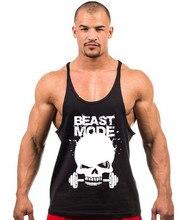 New Skeleton head print Singlets Mens Tank Tops Shirt,Gyms Bodybuilding Equipment Fitness Stringer Tank Top Clothes