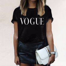 VOGUE Letter Printed T Shirt Women Harajuku Fashion Summer Short Sleeve Graphic Tees Shirt Femme Tops Black Casual Friends Shirt(China)