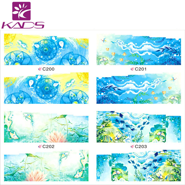 C200 203 french water stickers optional blue sea happy fish style design tip decoration nail