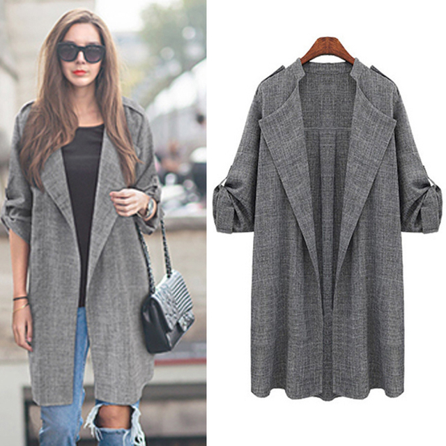 2016 New Spring Fashion Casual Women's Trench Coat long Outerwear Loose Clothes for Lady Good Quality Autumn Winter Trench Coat