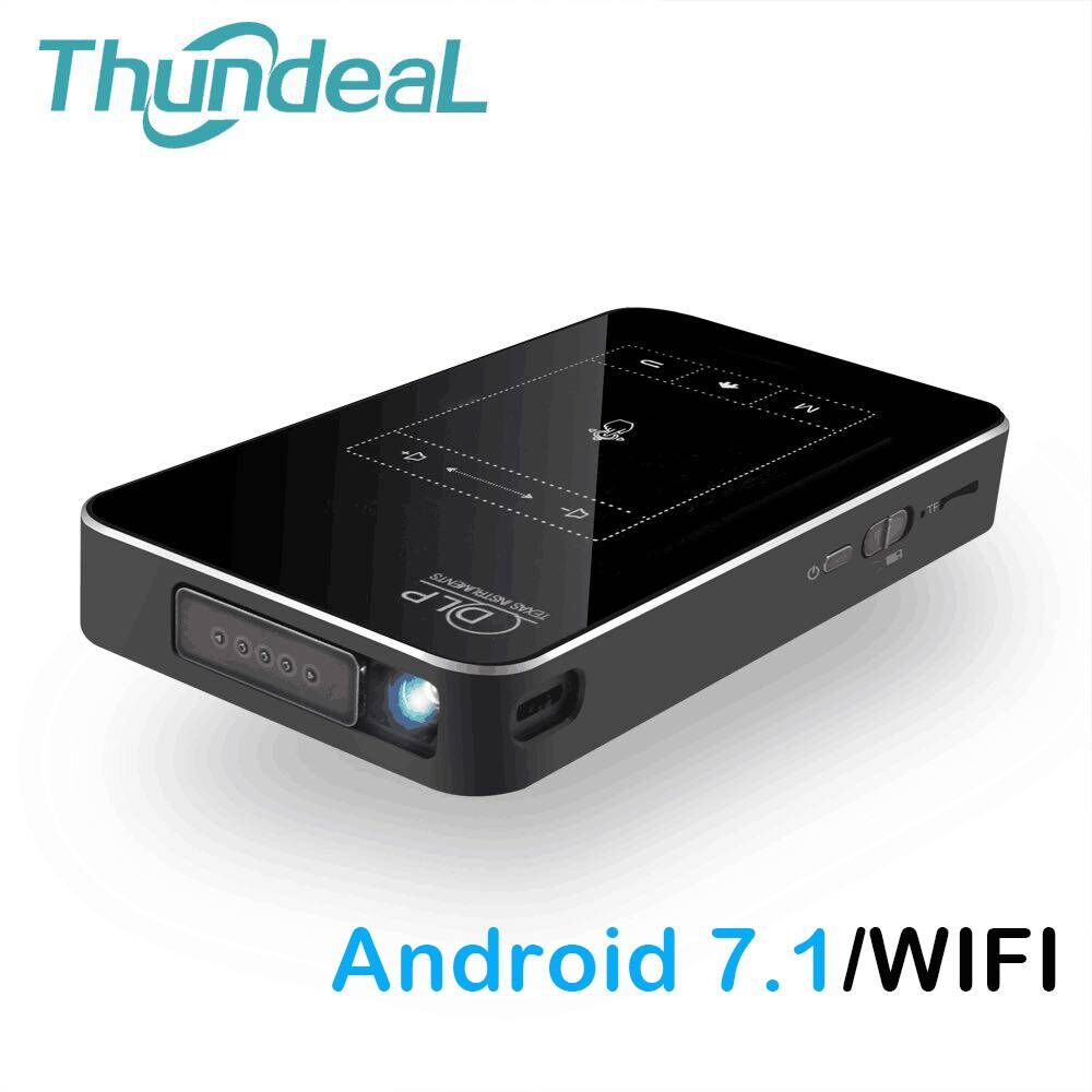 ThundeaL DLP Projector T18 WiFi Android 7.1 Bluetooth Pico Pocket HDMI Support 4K 1080P Mini 16G 32G Mini Projector Optional T17 mini tv micro dlp wifi portable pocket led smartphone projector bluetooth pico hd video 1080p hdmi for ipad iphone 6 7 white ios