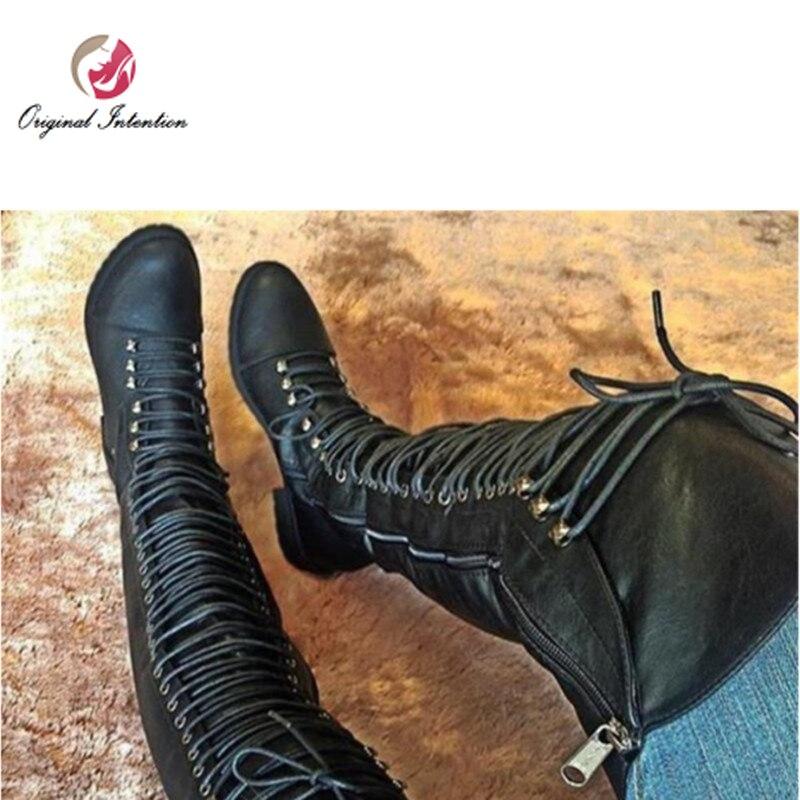 Первоначальное намерение популярные женские ботфорты выше колена высокие сапоги зимние Плоские низкий каблук кросс-ботинки на шнуровке ...