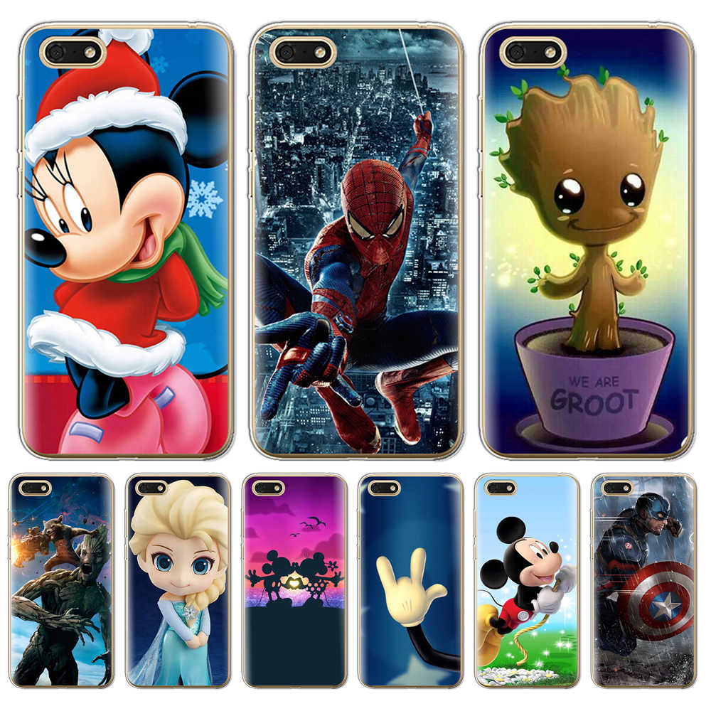 Luxury For Coque Huawei Honor 7A 5.45 Dua-L22 phone Case Soft Silicone back cover animal funda Mickey Minnie cartoon marvel hero
