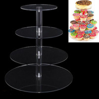 10pcs 4 Tier Acrylic Cake Stand Round Cup Cupcake Holder Wedding Birthday Party Decorations Events Dessert Display Stands ZA5612