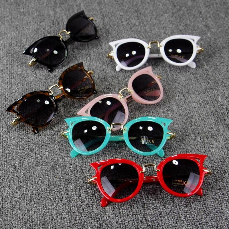 Five Colors Kids Sunglasses Girls Brand Cat Eye Children Sun Glasses Boys Lens Sun glasses Cute Eyewear UV400 Shades Goggles