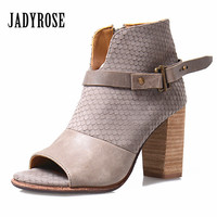 Jady Rose 2017 Female Summer Boots Peep Toe Chunky High Heel Ankle Boots Genuine Leather Side