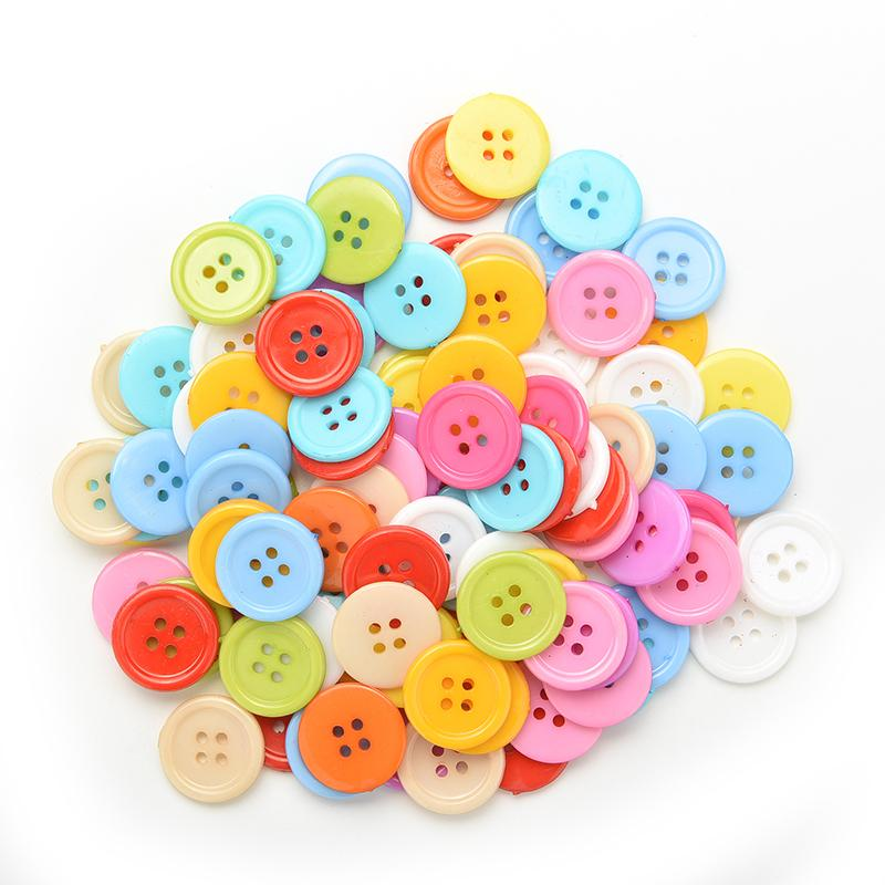 Plastic Buttons Orange 2 Hole Round for Sewing Clothing Scrapbooking Crafts