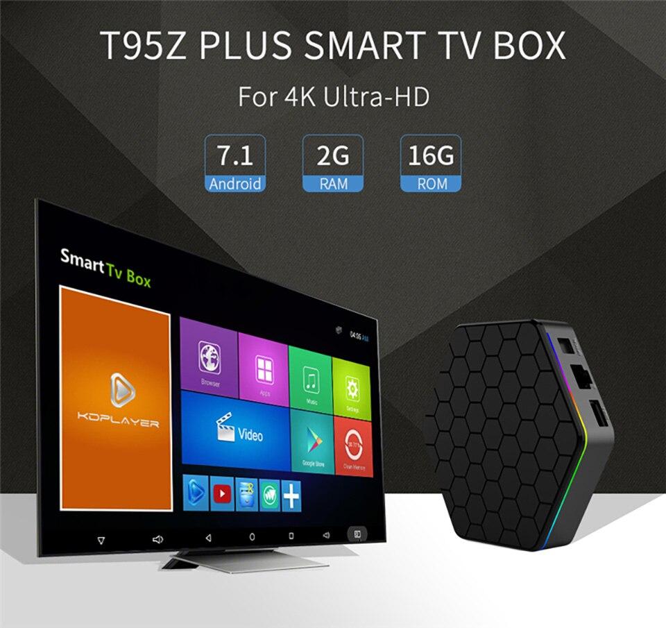 Boîtier TV intelligent T95Z Plus 2 go/16 go 3 go/32 go Amlogic S912 Octa Core Android 7.1 TVBOX 2.4G/5 GHz WiFi BT4.0 4 K lecteur multimédia boîtier intelligent