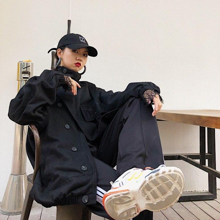 Suelto multiple Semi Pesado Negro Fila Estilo Medio Sola De Abrigo Una Bordado Moda Alto Personalidad Cartas Chaquetas longitud cuello La Herramientas tqP6fxBwR
