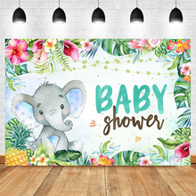 Tropical Baby Shower Backdrop Elephant Photography Background Floral Hawaiian Jungle Luau Party Banner Backdrops