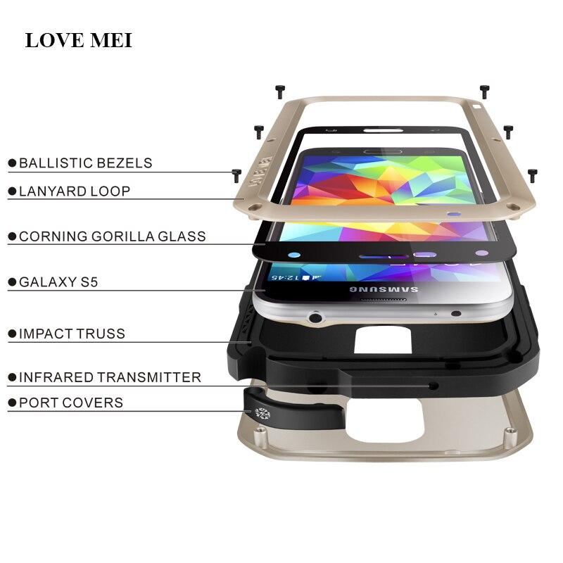 imágenes para De la marca amor mei metal de aluminio case para samsung galaxy s5 vida a prueba de agua cubierta a prueba de golpes para galaxy s5 teléfono i9600 g900f Shell