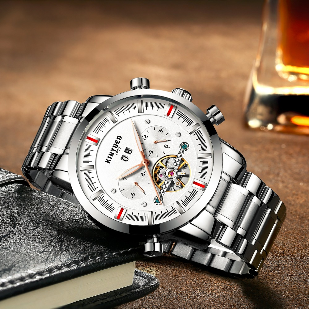 все цены на KINYUED Stainless Steel Mens Automatic Mechanical Watches Waterproof Luminous Skeleton Watch Men Auto Calendar relojes hombre
