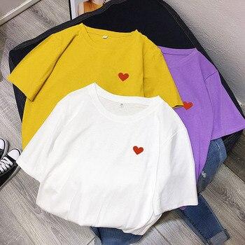 9f2d6906d5d8 2019 летние новые модные футболки для женщин сердце печати футболки с  забавным ...
