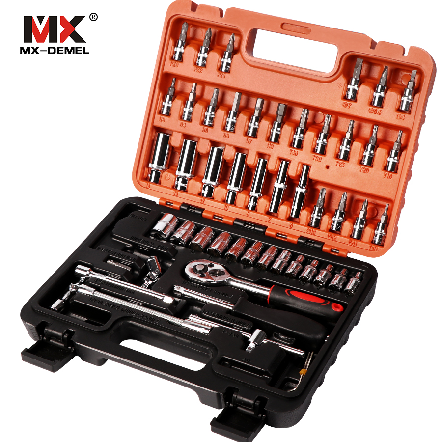 MX-DEMEL 53 pcs Combination Tool Wrench Set Car Repair Tool Sets Batch Head Ratchet Pawl Socket Spanner Screwdriver Socket Set