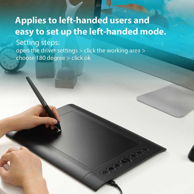HUION H610 PRO V2 أحدث جهاز كمبيوتر لوحي للرسومات المهنية الرقمية قلم رسم لوحي مع بطارية خالية من القلم وظيفة الميل 8192 مستويات