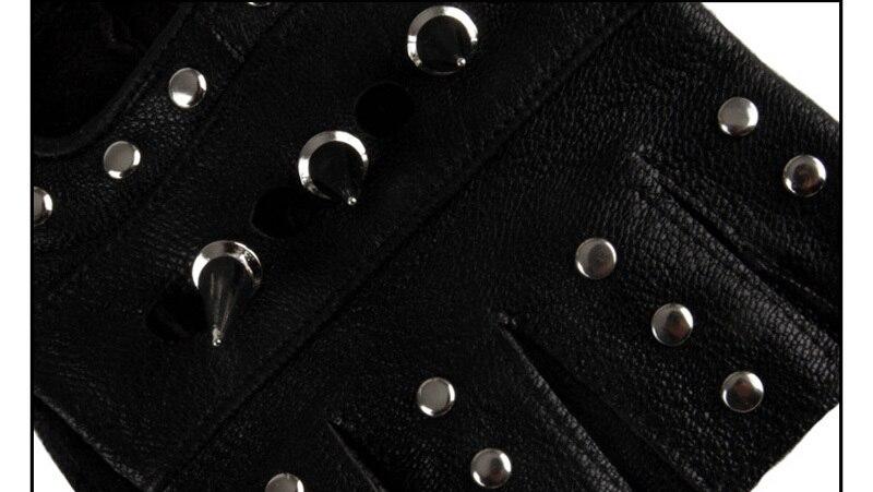 Для мужчин и Для женщин Искусственная кожа с открытыми пальцами в байкерском стиле из ПУ искусственной кожи перчатка в заклепках рок, хип-хоп, готика, варежки для певицы для сцены черное запястья перчатки