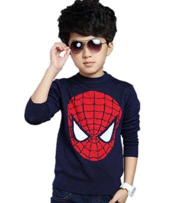 Kids autumn hedging round neck sweater Long sleeve boy big virgin cotton Spiderman Children