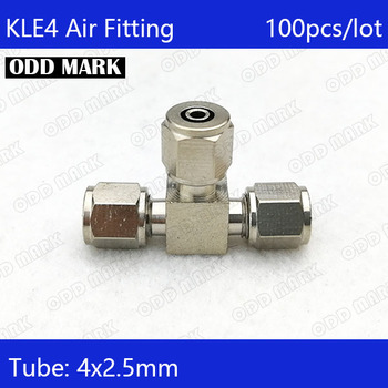 Free shipping 100pcs/lot Pneumatic Fittings 4m to 4mm to 4mm Hose Pipe Quick Joint Coupling Connectors Nickel Plated Brass  KLE4