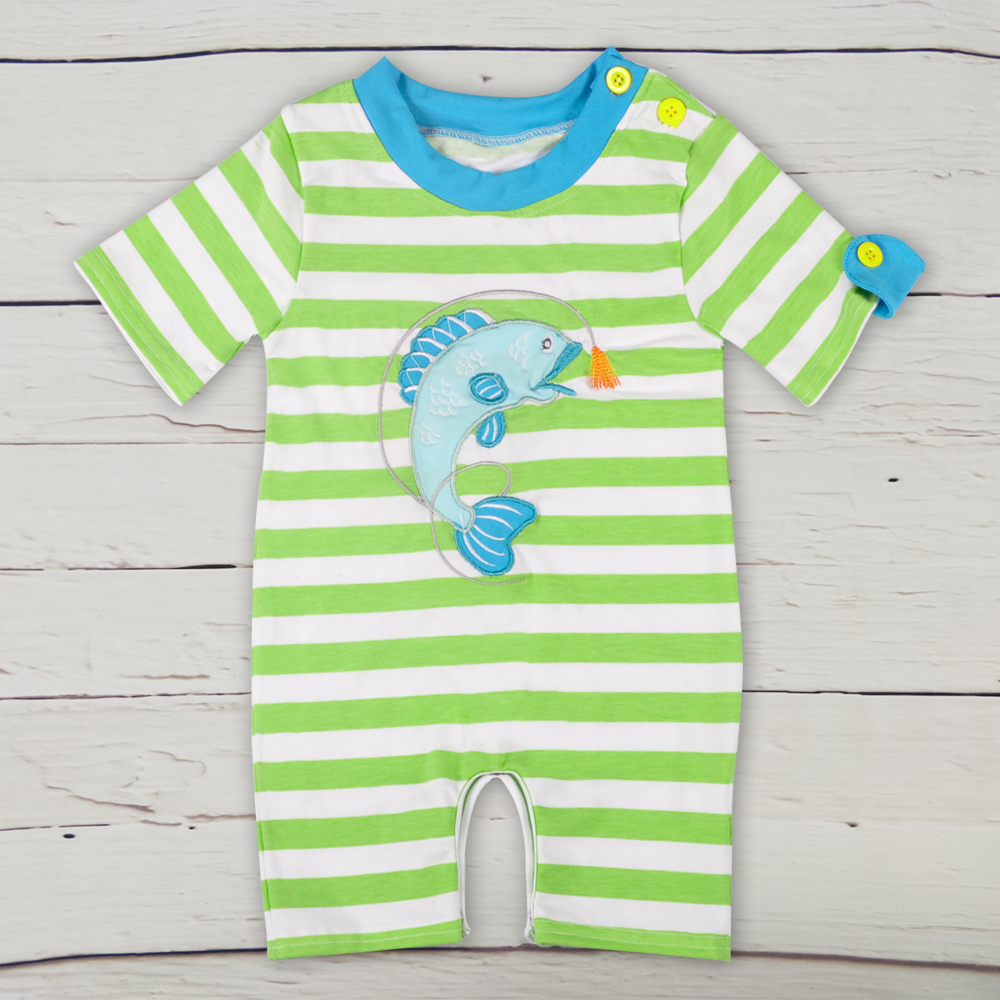 755e905d397 Factory Directly Selling Toddler Cotton Rompers Newborn kids Summer Boy  Striped Cute Fish Embroidery Summer Clothes