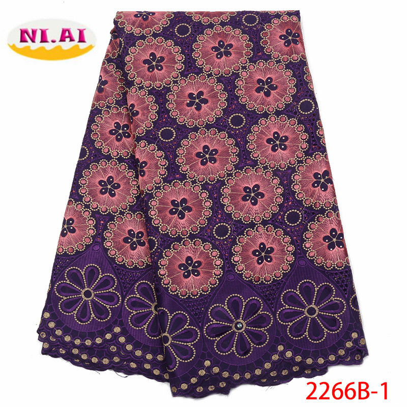 2018 African Nigerian Swiss Voile Lace Women Dress High Quality French Stones Swiss Voile Laces in
