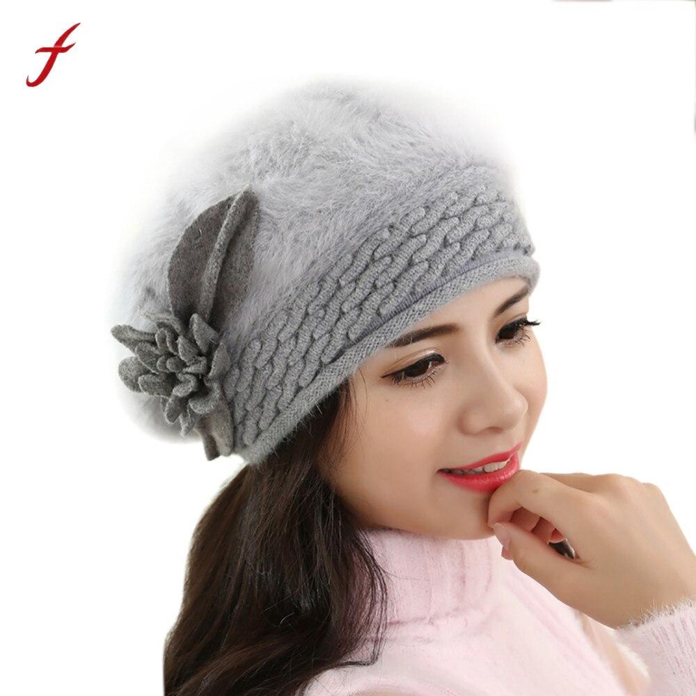 2017 New Women berets Hat Slouch Baggy Winter Warm Soft Solid Wool Knit Crochet Hat Flower casual Caps casquette bone masculino