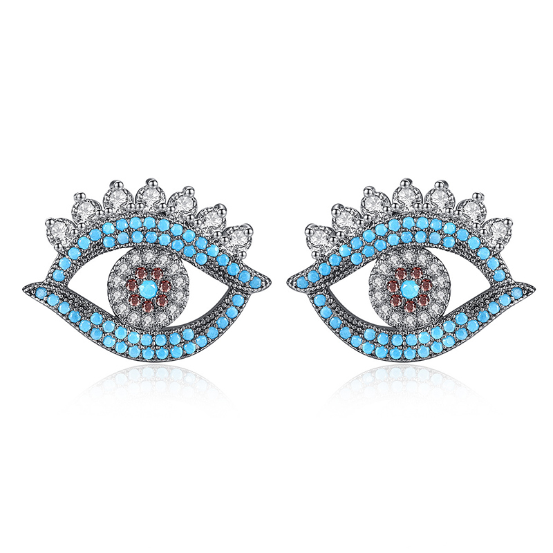 Punk Mắt Cubic Zirconia Stud Earring Màu Đen và Màu Xanh Bông Tai Pha Lê Lớn Tuyên Bố Thời Trang Trang Sức cho WomenDropshipping E061