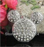 Crystal Mickey Mine Mouse Necklace Metal Flash Memory Selling Usb Flash Drives Usb 2 0 4gb