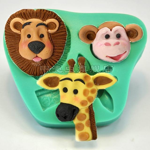 New Arrival Fondant Food Grade Silicone Mold Chocolate Mold Baby Shower  Feast Giraffe Lion Monkey