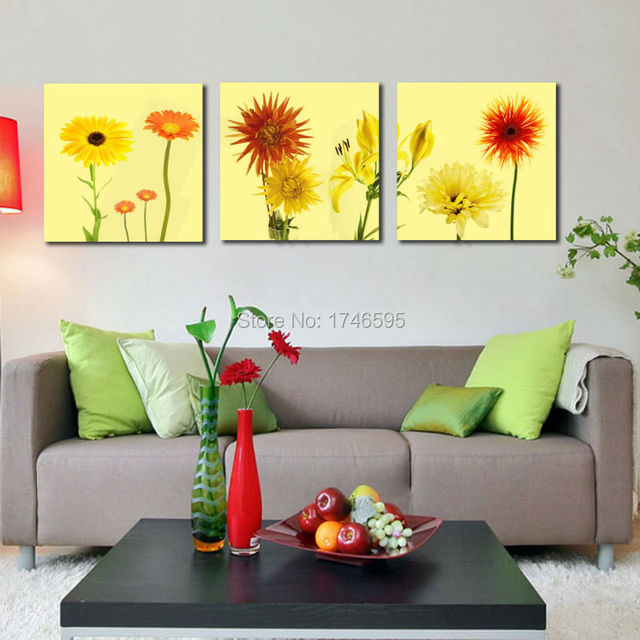 3pcs Big size abstract yellow daisy Wall Art picture for living ...