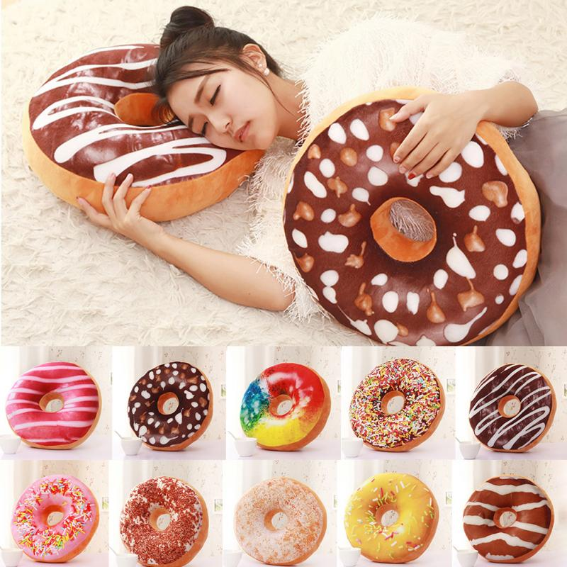 Cute Donuts Pillow Chocolate Donuts Plush Macaron Food Cushion Nice Bottom Cushion Nap Pillow Doughnut Coussin
