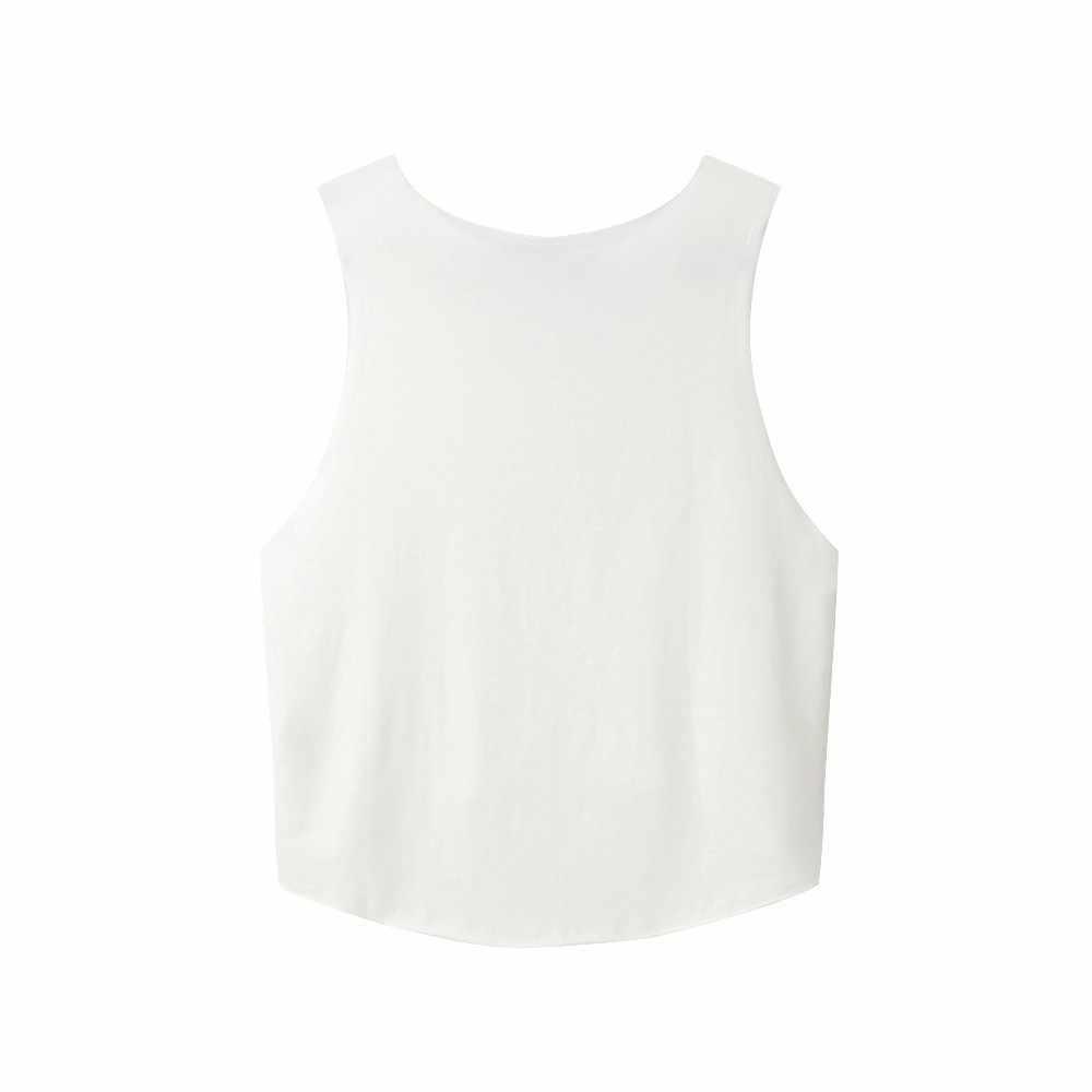 Fashion Tank Top Wanita Huruf Printing Atasan Rompi O Leher Blus Tanpa Lengan Kemeja Tank Camis Vadim