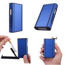 Aluminum Alloy Cigarette Case Packets Automatic Cigar Cigarette Box Holder 10 Cigarettes Tobacco Pipe Men's Gadget JD006
