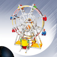 3D Puzzle DIY Metal Building Block Ferris wheel Building model with metal Beams and screws Lights & Music Educational Gift toys