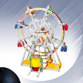 3D Puzzle DIY Metal Building Block Ferris wheel Building model with metal Beams and screws Lights & Music Educational Gift toys