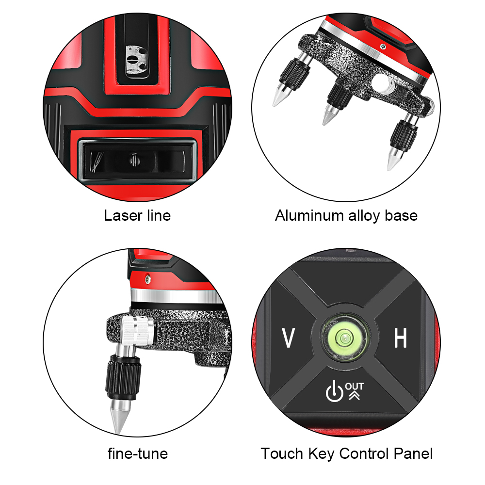 Tools : HILDA Laser Level 5 Laser Lines 6 Points 360 Degrees Rotary 635nm Outdoor Mode - Receiver And Tilt Slash Available Auto Line