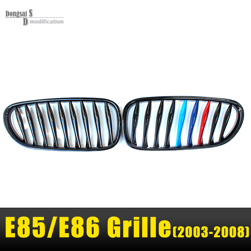 2003 - 2008 glossy M tri-color Z4 E85 front kidney bumper grill replacement for BMW roadster E86 coupe 2.0i 2.2i 2.5i 2.5si 3.0i