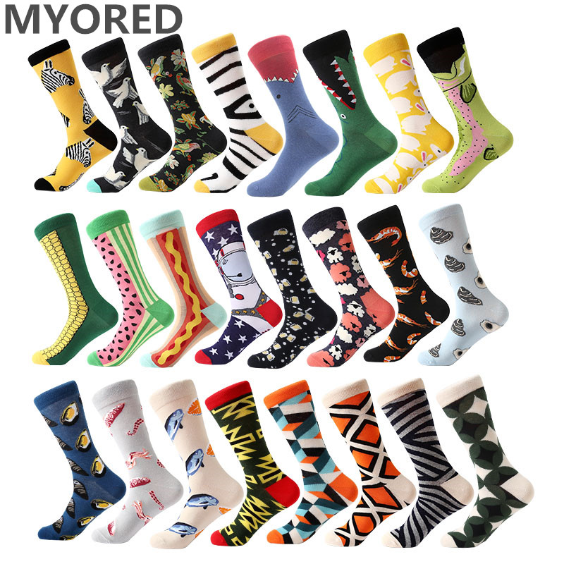 MYORED 1 pair men socks combed cotton cartoon animal bird shark zebra corn watermelon sea food geometric novelty funny socks(China)