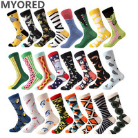 MYORED 1 pair men socks combed cotton cartoon animal bird shark zebra corn watermelon sea food geometric novelty funny socks Socks