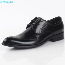 QYFCIOUFU New Luxury Men Brogue Genuine Leather Oxfords Wedding Office Business Formal Black Brown Men Dress Shoes Flats