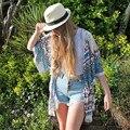 Прочный 2016 Мода blusas Блузка плюс размер Женщины Геометрия Отпечатано Кисточкой Шифон Шаль Кимоно Кардиган Топы Cover up Блузка