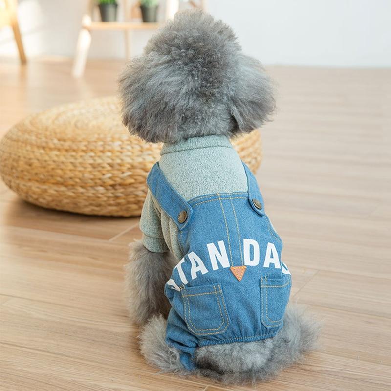 Demin Pet Dog Jacket Coat Clothes Dog Cat Jumpsuit Romper Clothes Pet Dog Jacket Coat High Quality Dog Costume Lovely