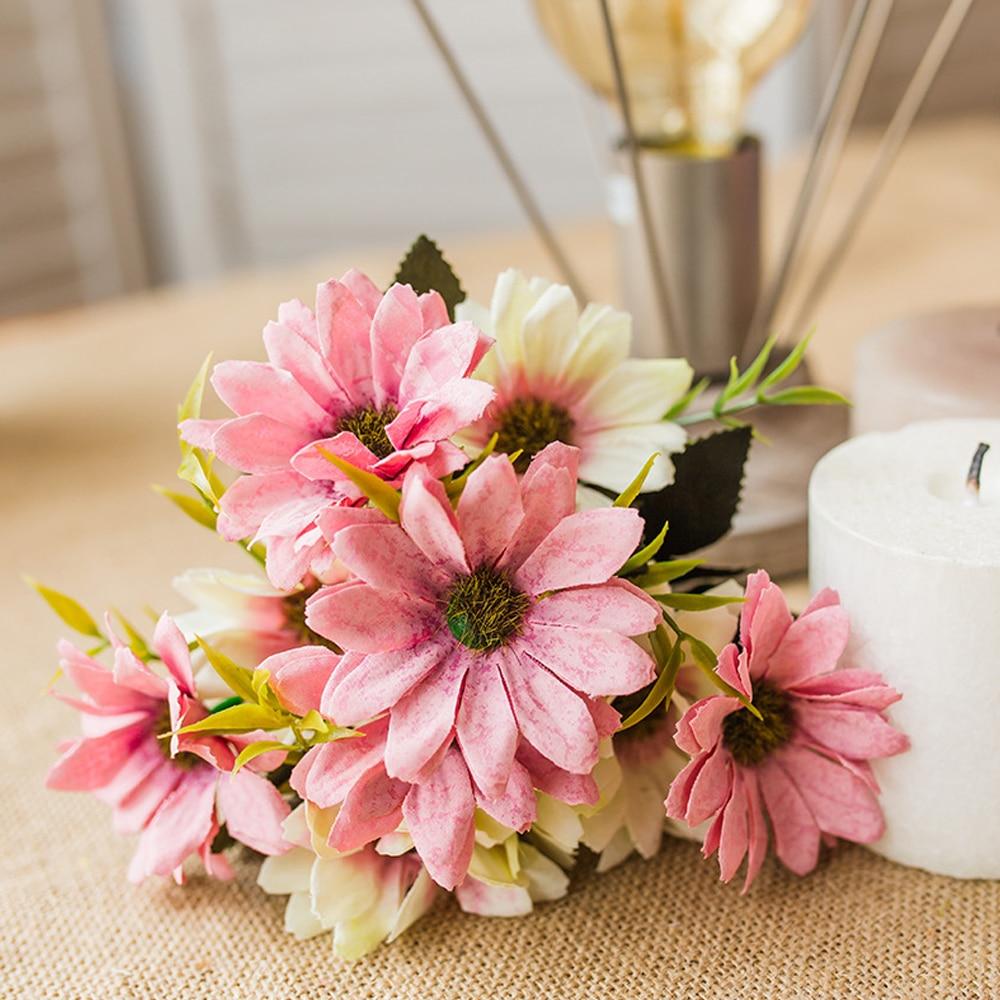 5 Forks 10 Head Sunflower Daisy Flower Wedding Flower Bouquet/wire ...