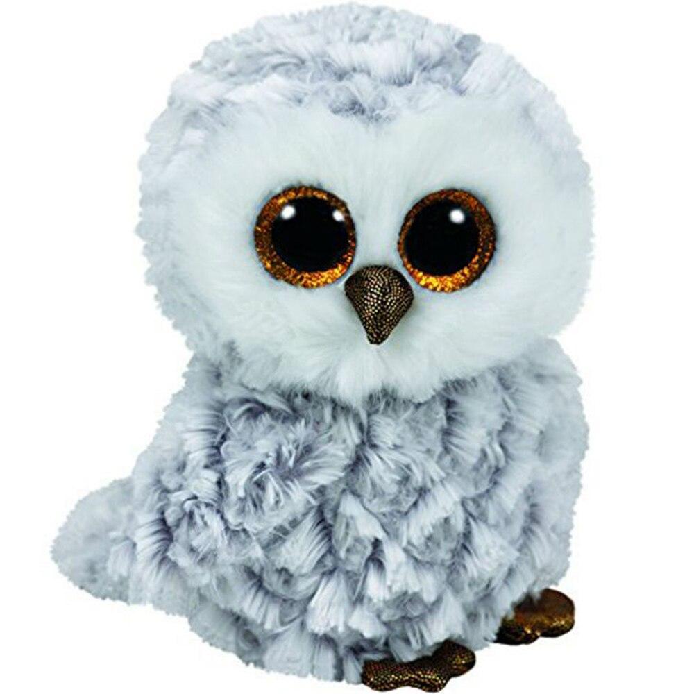 Ty Beanie Boos 6 15cm Owlette the Gray Owl Plush Regular Soft Big-eyed Stuffed Animal Bird Collection Doll Toy ty beanie boos plush animal doll skye zuma rocky the dog soft stuffed toys 6 15cm