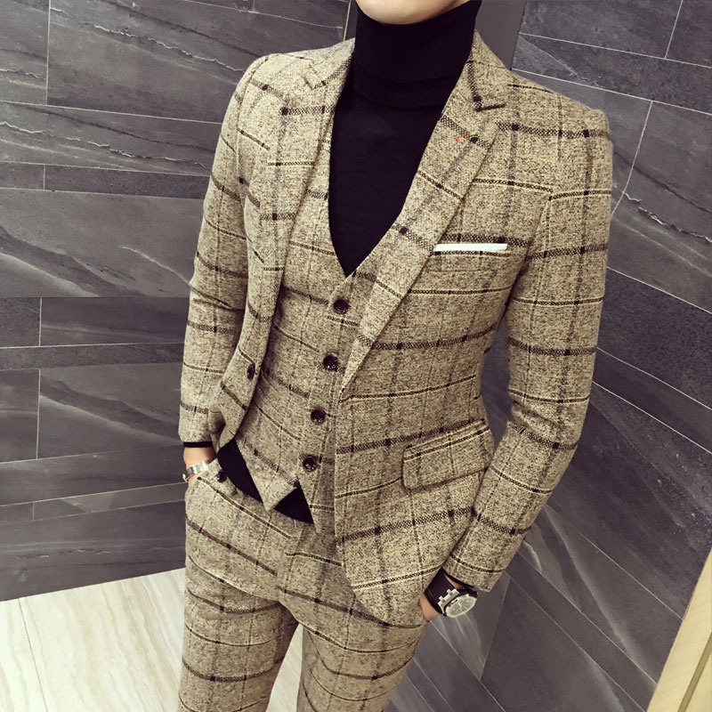 Men Blazer Pant Vest Jacket Three-Piece-Set Plaid Stripes High-Quality