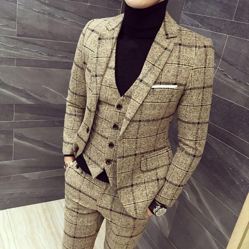 mens three piece set ( men Blazer jacket + Vest + pant ) Plaid stripes mens suits 2019 Asia size S 5XL High quality men suits